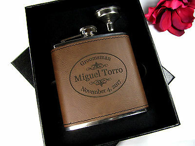 5 Custom Engraved Leather Flasks Personalized Groomsmen Gift Boxes Funnel - Customized Flasks