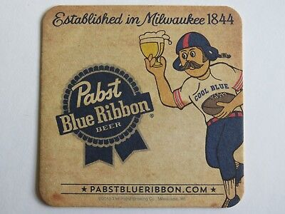 Beer Coaster ~ PABST Brewing Blue Ribbon Since 1844 ~ Cool Blue Football Player for sale  Denver