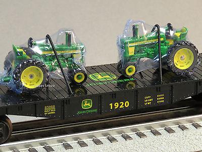 LIONEL JOHN DEERE FLATCAR 2 FARM TRACTORS 1:64 O GAUGE train tractor 6-83286 NEW