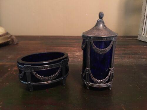 Mema Sweden Sterling Silver Cobalt Glass Pepper Shaker & Salt Cellar Vtg Marked
