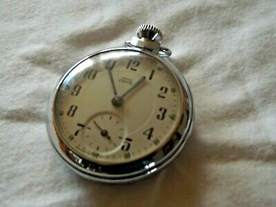 Vintage Smiths Empire Pocket Watch Luminous Hands Made In Gt Britain Working