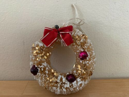 Vintage Bottle Brush Wreath Christmas Ornament w/ Bow & Pink Glass Beads & Snow