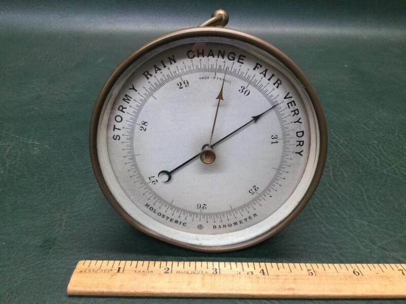 Rare Antique Paul Naudet Brass Holosteric Barometer France HPBN