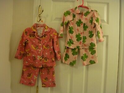 Girls Nick & Nora Pink 2 Piece Monkey & Carters Green Frog Pajamas Size 18/24 MO