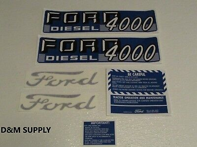 Ford Tractor Decal Set 4000 Diesel With Caution Stickers 1115-1545