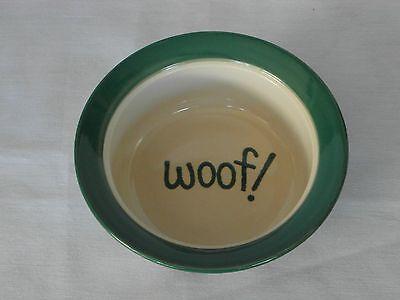 DOG BOWL CERAMIC 6 INCH BEIGE GREEN RIM BLACK SPOTS LETTERING INSIDE WOOF!