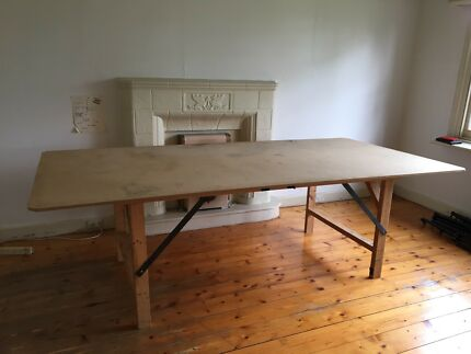 Wooden Studio workbench table fold up legs