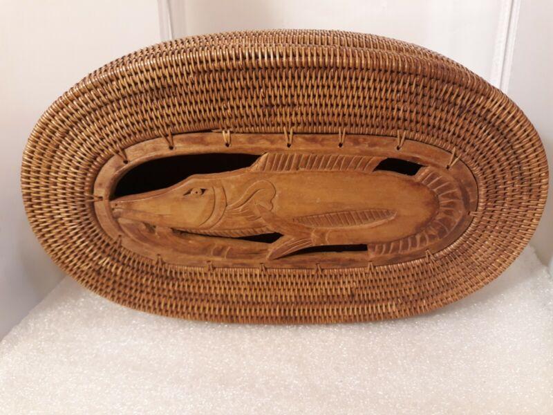 Vtg Wood Basket Box Hand Carved Woven Sturgeon Fish Fishing Sporting Goods