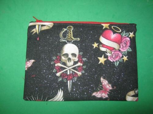 """SKULLS & ROSES""- Cloth Zipper Pouch-Make Up Bag-Stash Bag-Handmade"
