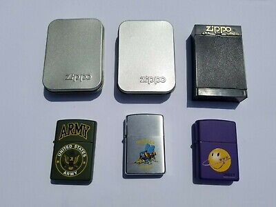 ZIPPO LIGHTER LOT - US ARMY - NAVY SEASBEES - WWW SMILEY - 2 NEW 1 Used