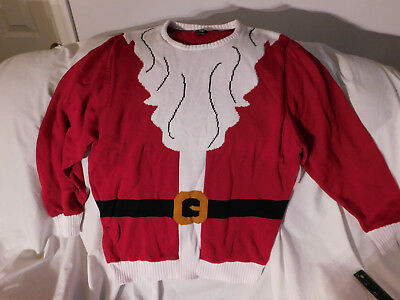 New Large Red White Santa Suit Top Beard Christmas Ugly Mens Sweater Route 66 for sale  Pelham