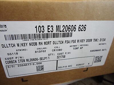 Corbin Russwin Assa Abloy 103 E3 Ml20606 626 Mortise Lock