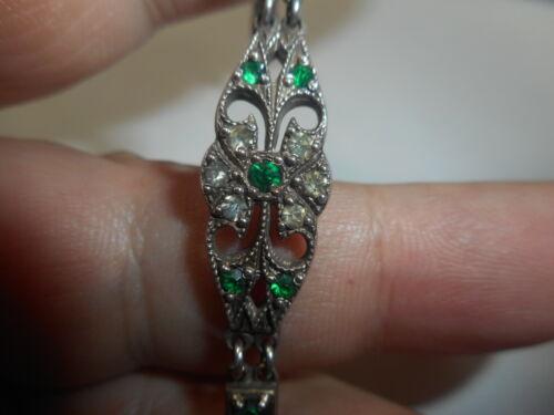 1930 Art Deco Sterling Brilliant GREEN Rhinestone Crystal BRACELET Antique mint
