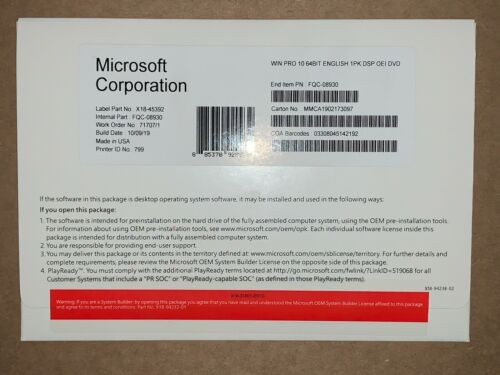 # Microsoft Windows 10 Professional Pro Product key and Dvd 64 bit genuine #