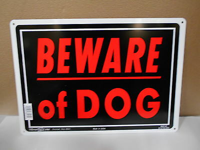 Lot Of 6 Tin Metal Hillman Saftey Signs 10 X 14 Beware Of Dog 840143