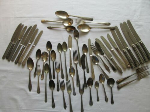 Ornate lot of Vintage Silver plated Flatware for Crafts Projects 50 pieces