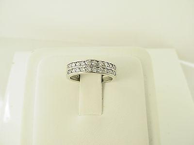 Estate 14k White Gold Round Brilliant Diamond Two Row Prong Wedding Band Ring