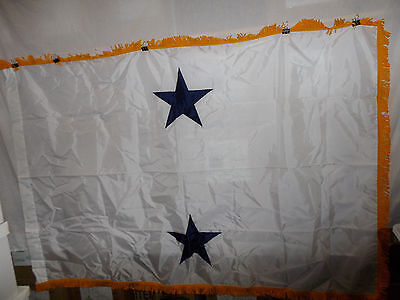 flag554 US Navy 2 Star Rear Admiral White with Gold fringe flag