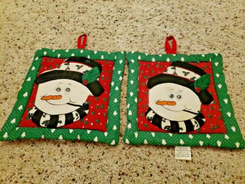 2 Vintage Christmas Potholders 7.5 Hot Pads Snowman With Googly Eyes Kitchen