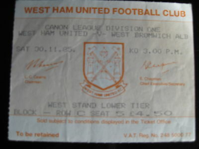 WEST HAM UNITED v WEST BROMWICH 30/11/1985  USED TICKET STUB