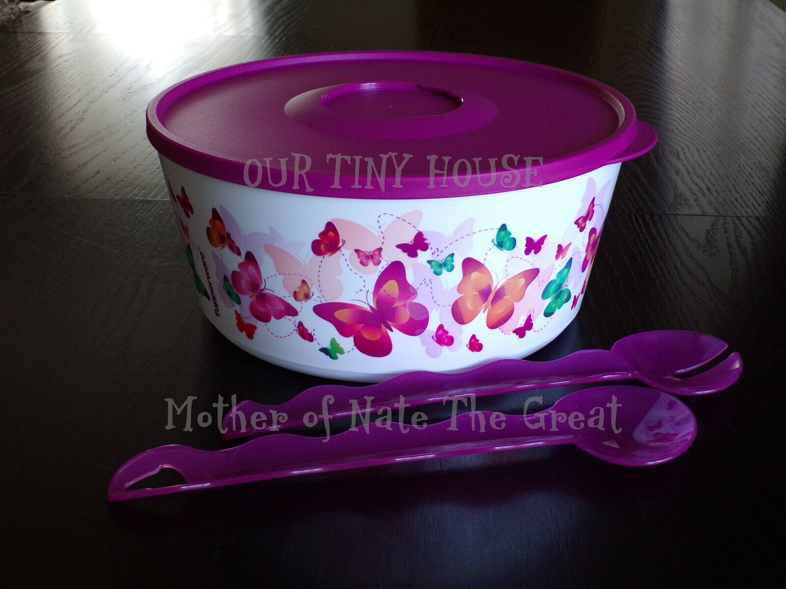 New Tupperware Butterfly Bowl 18 Cup Large Salad Serving Dish W Tongs 7637 7638 Ebay