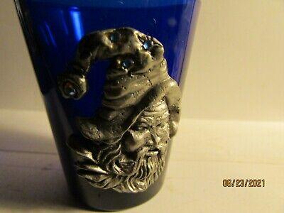 Pewter Wizard Head- On Cobalt Blue Shotglass- Standard size glass- new