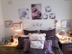 Queen White & Brass bed head and basebord Frankston Frankston Area Preview