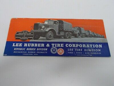 Vtg Lee Tire & Rubber Company Automotive Advertising Ink Blotter~On Army Trucks