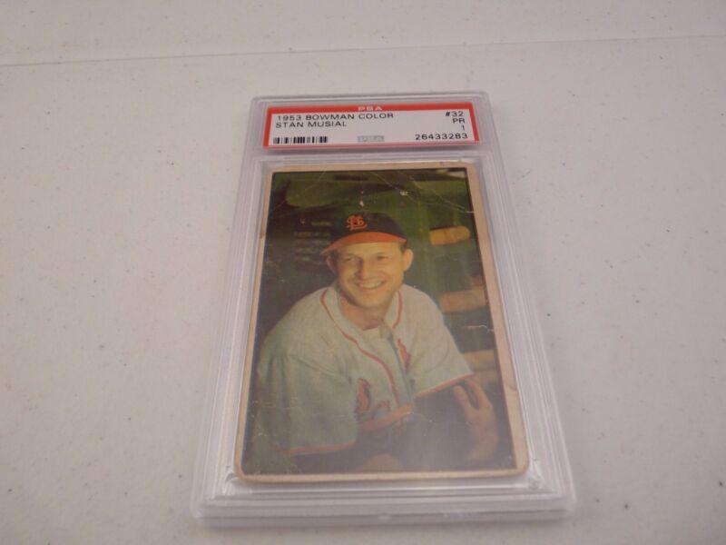 Stan Musial 1953 Bowman Color #32 Baseball Card PSA Graded Slabbed PR 1