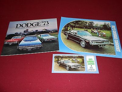 1973 DODGE CORONET BROCHURE plus 40 p. FULL-LINE CATALOG + ORIGINAL 73 POSTCARD!