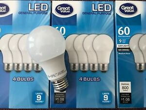 12 Pack LED 60W = 9W Daylight 60 Watt Equivalent A19 5000K E26 light bulb