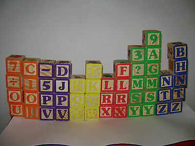 WOODEN LOT OF 49 ABC BLOCKS TOYS WOOD ALPHABET 26 LETTERS