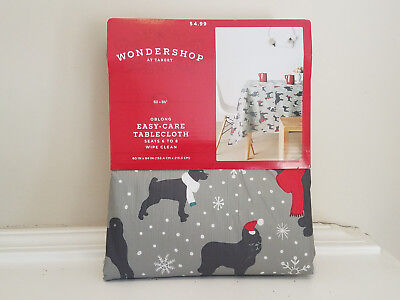 Wondershop Target Christmas Tablecloth Grey with Dogs * Oblong 60 x 84 * NEW