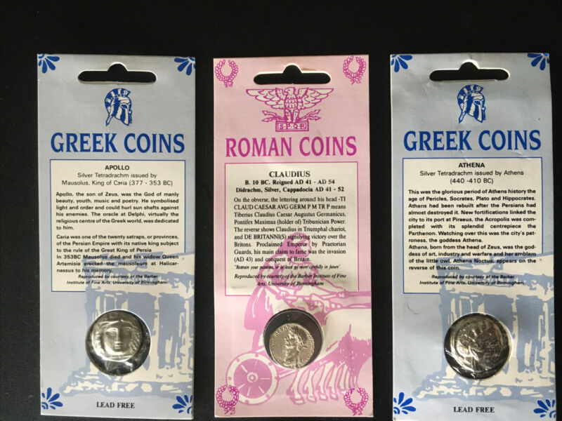 Set of Three Double-Sided Ancient Greek & Roman Coin Replicas • FREE SHIPPING!