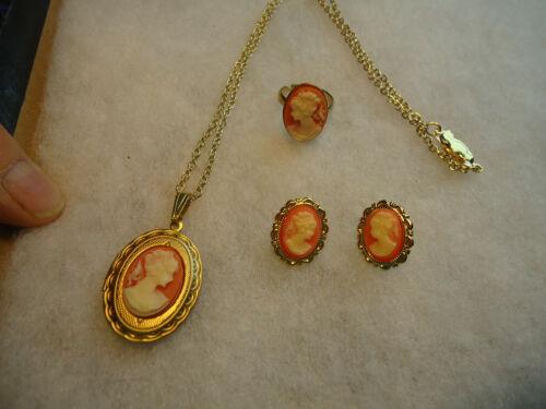 Vintage/nos gold tone orange white Cameo lot - GP earrings