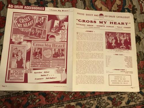 "Cross My Heart 1937 Paramount 9x1/2x12"" British pressbook Gambling Kathleen Gibs"