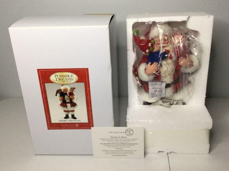 DEPT 54 Possible Dream Clothtique Merry Kiss-Mas #4052402 Santa. Rare. NEW.
