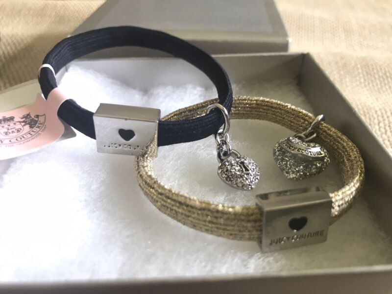 New!!! 2 JUICY COUTURE PONY TAIL HOLDERS VINTAGE Elastic Silver CZ Heart Charm