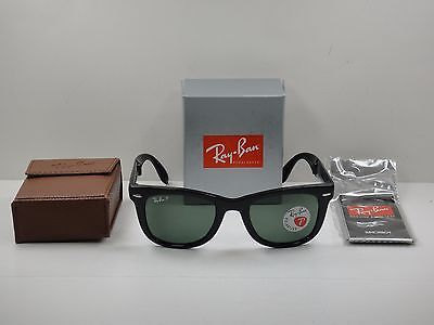RAY-BAN FOLDING WAYFARER POLARIZED SUNGLASSES RB4105 601/58 BLACK/GREEN 50MM