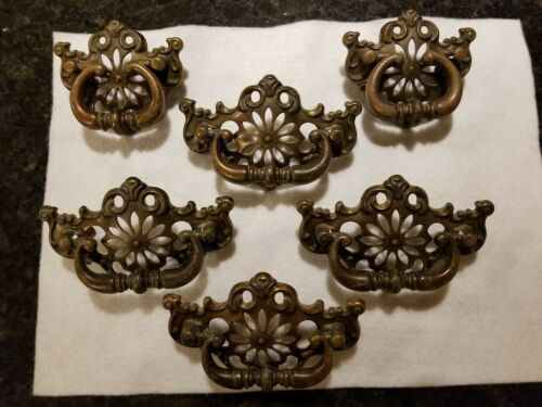 Vintage Drop Handle Bail Drawer Pull Aged Antique Brass Chippendale Ornate