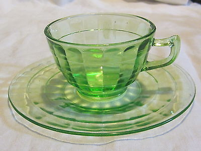 Hocking Block Optic Green Cups & Saucers (4)