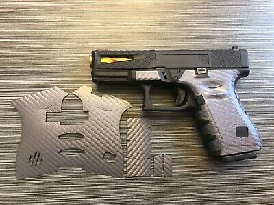 HANDLEITGRIPS GRAY VINYL CARBON FIBER GUN GRIP WRAP for Glock 19/23 Gen 3 ()