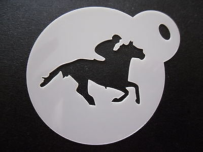 Laser cut small racing horse design cake, cookie,craft & face painting stencil - Horse Racing Cake Designs