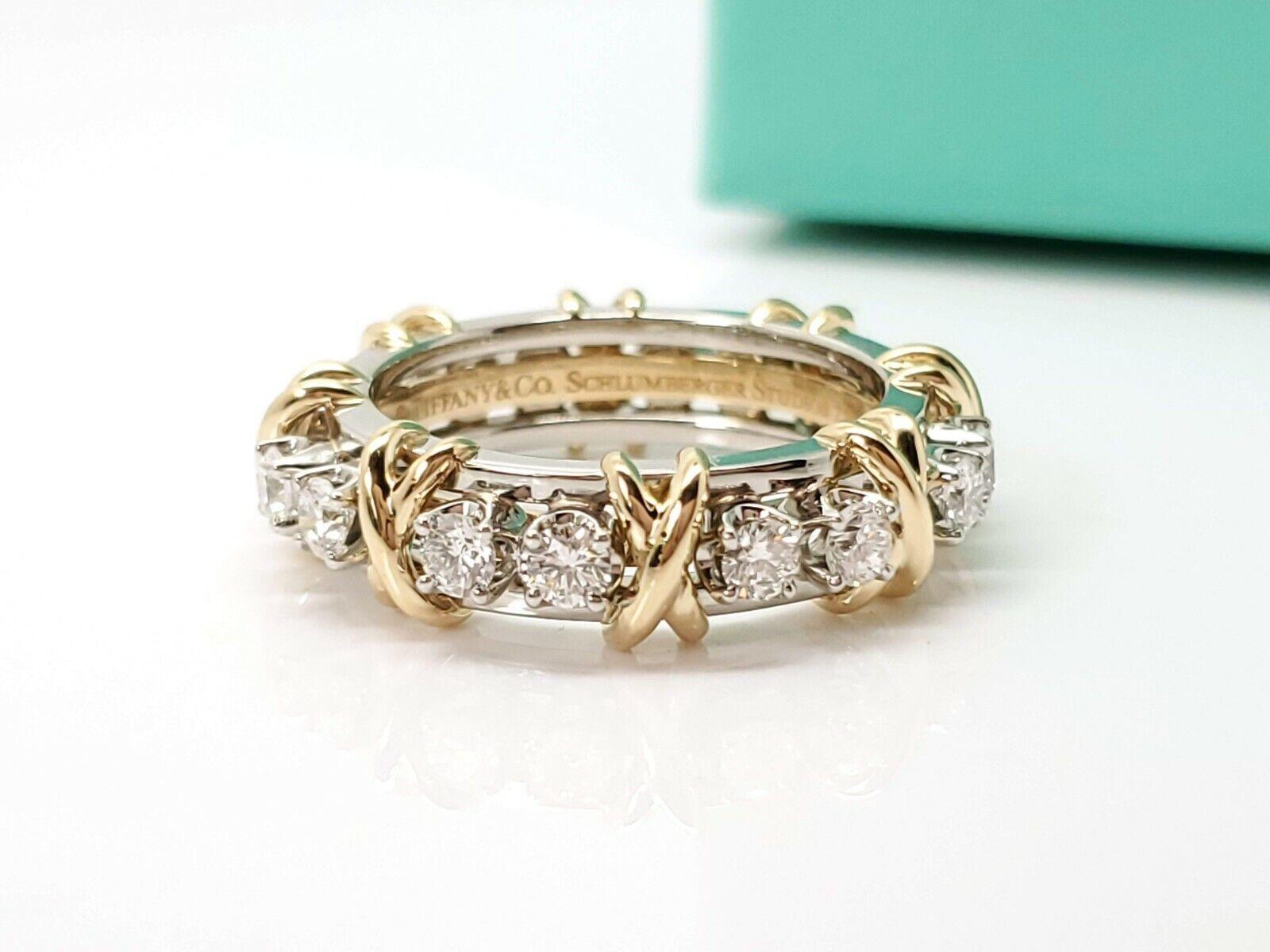 TIFFANY & Co 18k Gold Platinum Schlumberger Sixteen Stone Diamond X Ring 7.75