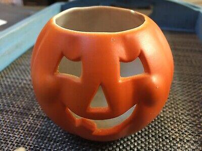 Hallmark Ceramic Pumpkin Fall Autumn Halloween Decor Votive Candle Holder Plant