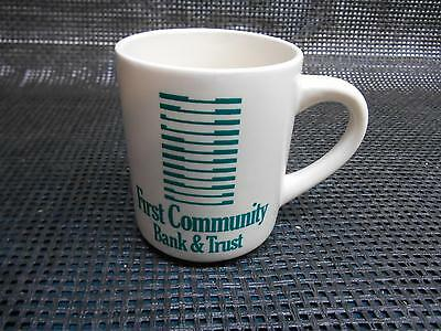 Old Vtg First Community Bank   Trust Coffee Cup Mug Advertising