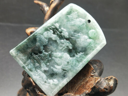 Chinese Hand-carved Delicate wearing Jadeite jade pendant fine Green Landscape