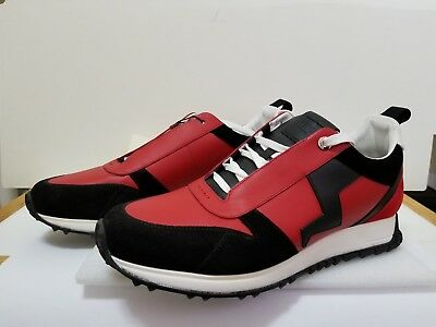 FENDI Men Lightning bolt Two-tone leather and suede lace-up red & black UK8/US9