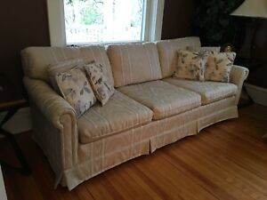 Reduced couch, love seat,  matching chair and pillows