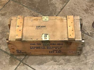 US Army Wooden Ammunition Ammo Fuse Rocket Warhead Crate Wood Box